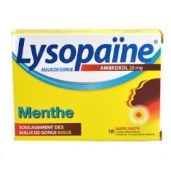 Lysopaïne Maux De Gorge Ambroxol Menthe 20 Mg Sans Sucre 18 Pastilles