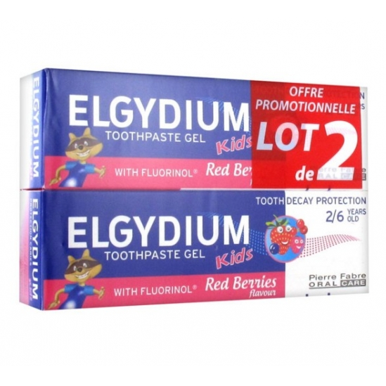 Elgydium Gel Dentifrice Kids Protection Caries 2/6 Ans Arôme Grenadine Lot de 2 x 50 ml