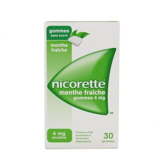 Nicorette Menthe Fraiche 4Mg Sans Sucre 30 Gommes à Mâcher